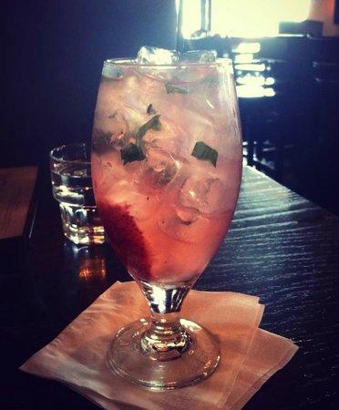 Diamond Jim Brady's: featured drink - muddled strawberries, basil, vodka, lemonade and sprite.