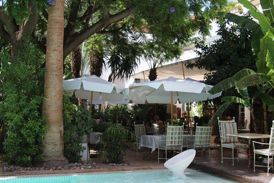 Les Jardins de la Medina: view from pool to restaurant