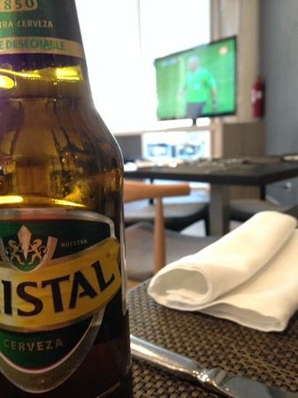 Atton Vitacura: Cerveza Cristal watching a World Cup match
