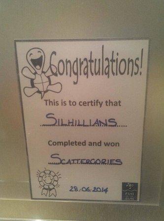 smartline Margarita Hotel: We Won Scattergories Quiz!