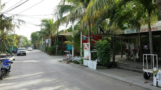 Splash Inn Dive Resort: View down the street, Splash Inn on the right.