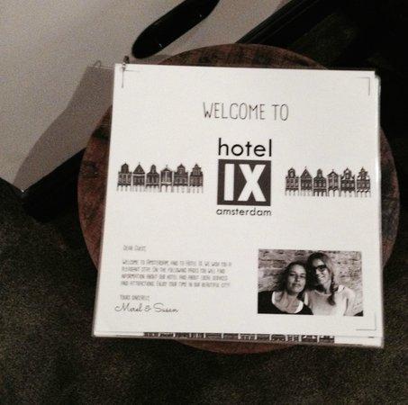 Hotel IX Amsterdam: warm welcome!
