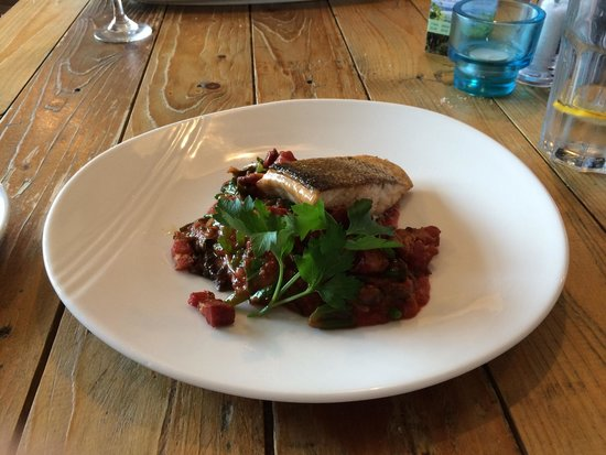 The Old Boat House: Wild sea trout with seaweed and bacon in a tomato based sauce. Delicious!