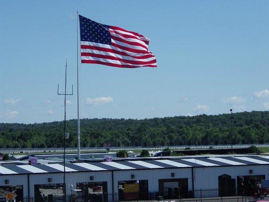 Pocono Raceway: American Flag flying over raceway