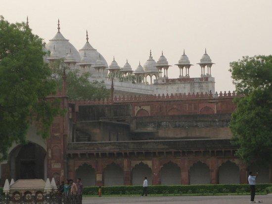 Fort rouge d'Āgrā : Vue des toit de la Mosquée