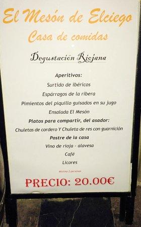 Hotel Villa de Elciego : Menu degustacion