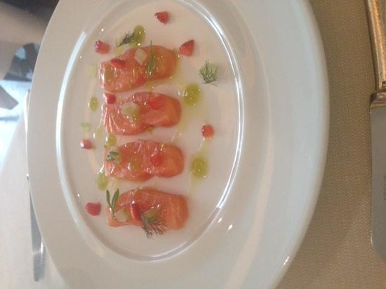Hibiscus: 'Cured Var Salmon, Celery, Strawberry, Sweet and Sour Wasabi'