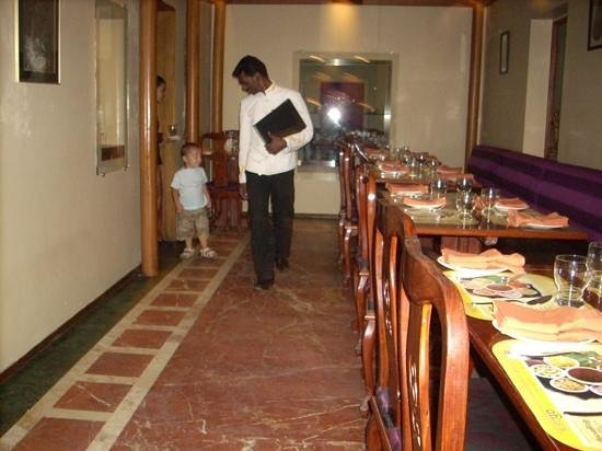 Benjarong: my son is walking during dinner...