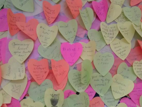 Noodle Station: Heart Shape Sticky notes left by diners