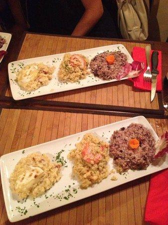 In Vino Veritas: Tris di risotti: con barbabietola, con gamberi e avocado, con tomino