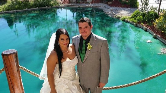 The Lodge at Big Bear Lake, a Holiday Inn Resort: Bride and Groom in front of pond