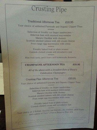 Crusting Pipe Wine Bar: Afternoon tea menu
