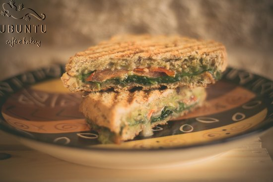 ubuntu cafe and bakery: Caprese panini - made with our the 5-grain farm loaf from our bakery