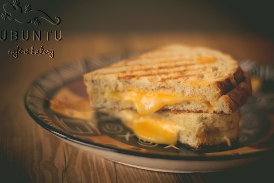 ubuntu cafe and bakery: Grilled 3-cheese panini, made from our sourdough rye bread