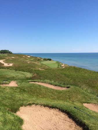 Whistling Straits Golf Course - Straits and Irish : 7th tee, shipwrecked.