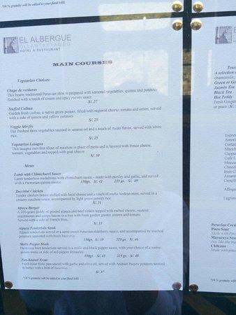 El Albergue Ollantaytambo: menu