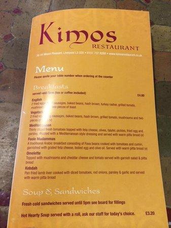 Kimo's: Kimos Menu