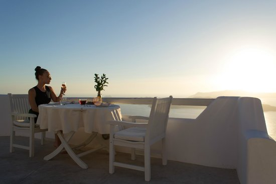 Celestia Grand: Sunset dinner on our private deck