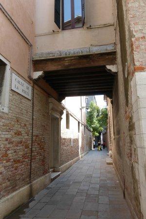 """Hotel Bisanzio: Sestiere Castello, the small """"road"""" off Riva Degli Schiavoni that leads straight to the hotel's"""