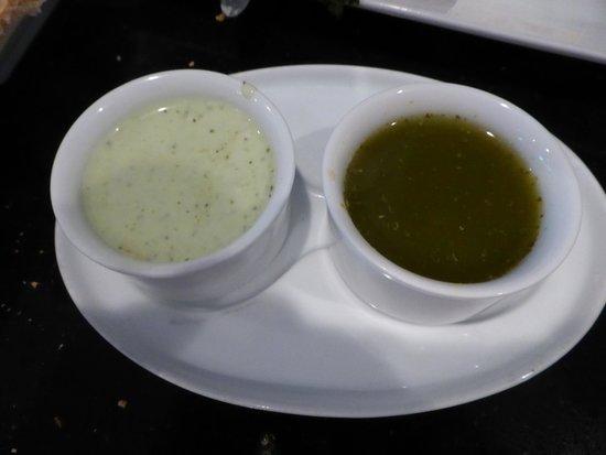Mazadar Kabob: light green and dark green kabob dipping sauces