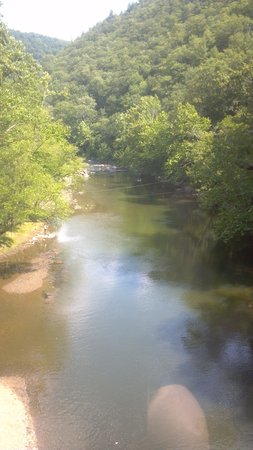 Pipestem State Park: River at the base of the mountain