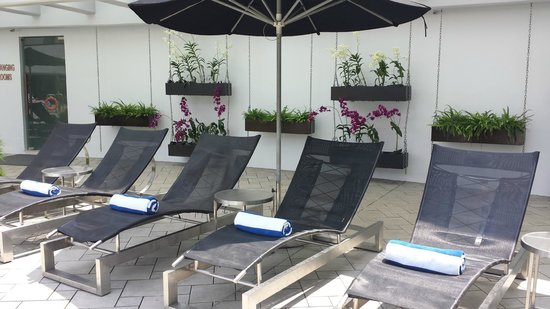 Pan Pacific Singapore: The lounge chairs, where they will deliver cold bottled water to you