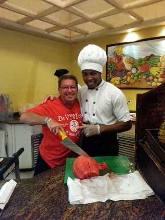 Majestic Colonial Punta Cana: My husband and Juan (fruits)