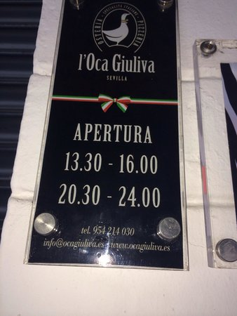 Osteria L'Oca Giuliva : Opening hours