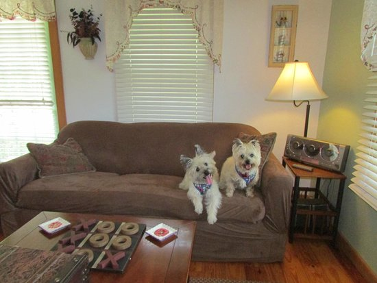Cloran Mansion Bed & Breakfast: Living room of cottage.  Slipcovered for the pooches.