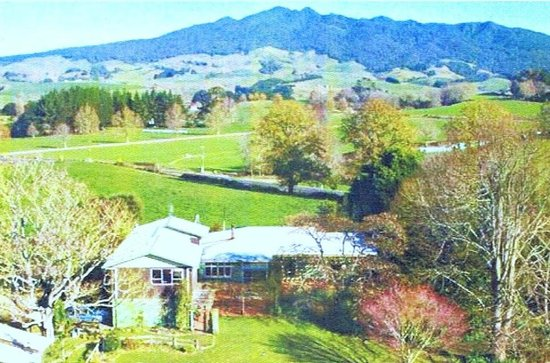 Kakaramea Guest House and Bed & Breakfast: A birdseye view of Guesthouse and environs(Mt.Pirongia in background).