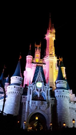 Wishes Fireworks: Castle lit up with color