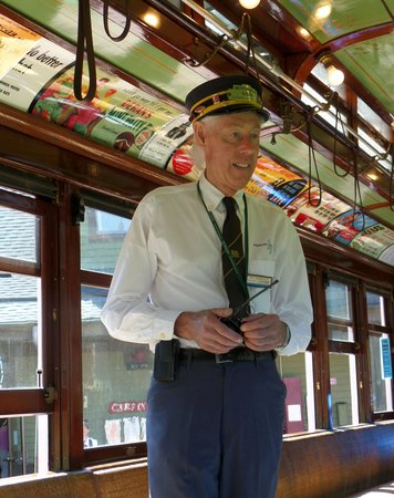 Seashore Trolley Museum : Our conductor on the trolley