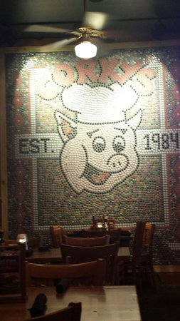 Corky's BBQ: Now my children plan to collect pop tops to male there own mural. Lol!