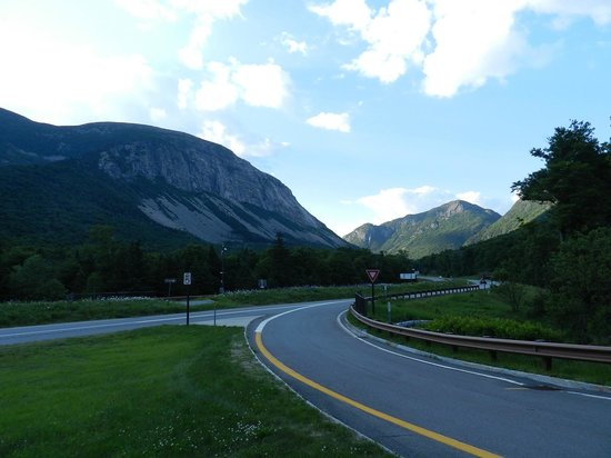 Franconia Notch State Park: View of the mountains from across Lafayette Campground