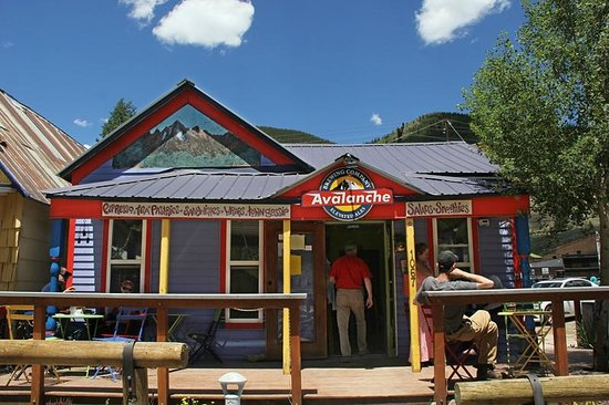 Avalanche Brewing Company: The front of the Avalanche Café in Silverton, Colorado. Awesome food and beverage.