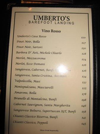 Umberto's: Drink Menu