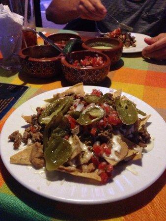 Delicious beef nachos at Cuervo's House, San Jose del Cabo!