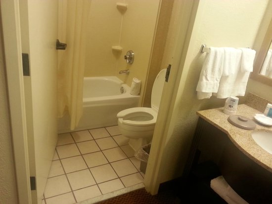 Red Roof Inn Tupelo: Small bathroom but separated from sink area