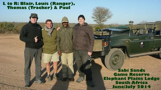 Elephant Plains Game Lodge: With our ranger (Louis) and tracker (Thomas).