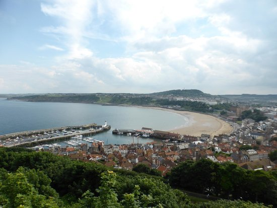 Scarborough Castle: this is south bay looking out from top of castle