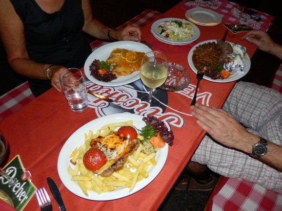 Piroska Vendeglo: Our maincourses, superfluous food (see the salty fetah on the steak and frites)