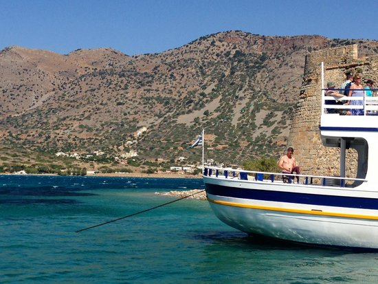Spinalonga (Kalydon): view from boat at Spinalonga jetty looking over to Crete