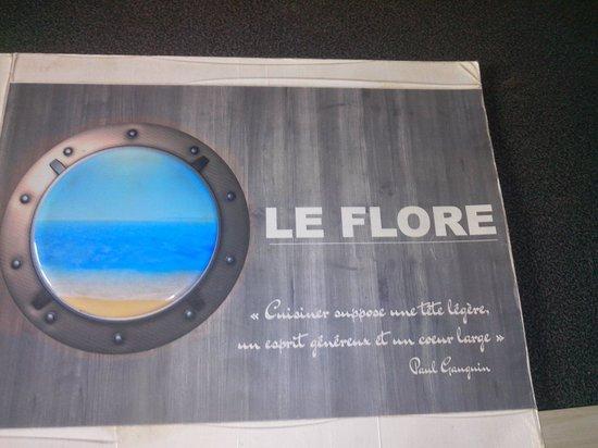 Le Flore : La carte du restaurant.Cette citation de Gauguin correspond bien au patron