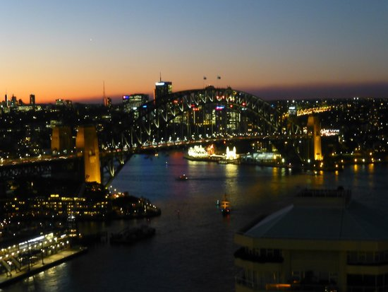 InterContinental Sydney: The Harbour Bridge at night from the Club Lounge's balcony.
