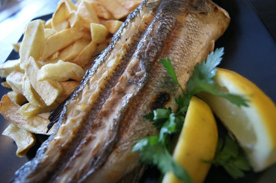 Atlantic Fish Bar & Restaurant: Grilled Seabass, also mackerel, salmon and seasonal specials available