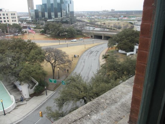 The Sixth Floor Museum/Texas School Book Depository: View from the 7th floor corner window.
