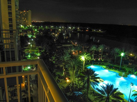 The Ritz-Carlton Orlando, Grande Lakes: View from the balcony at night. That's JW btw.