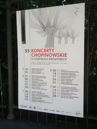 Łazienki-Park (Park der Bäder): Chopin Consert flyer.
