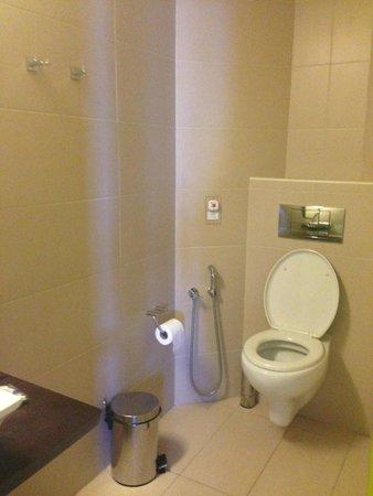 Steris Elegant Beach Hotel Apartment: Туалет в ванной комнате