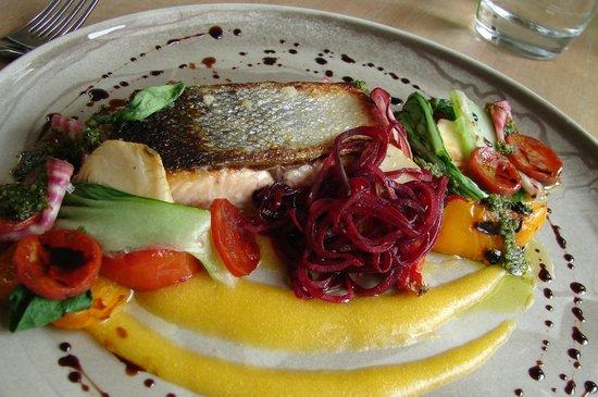 Verveine Fishmarket Restaurant: Main: Sea Trout and amazing garnish. Outstanding